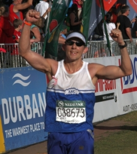Ultra Marathon Runner Axel Rittershaus at the finish of COMRADES Ultramarathon 2012